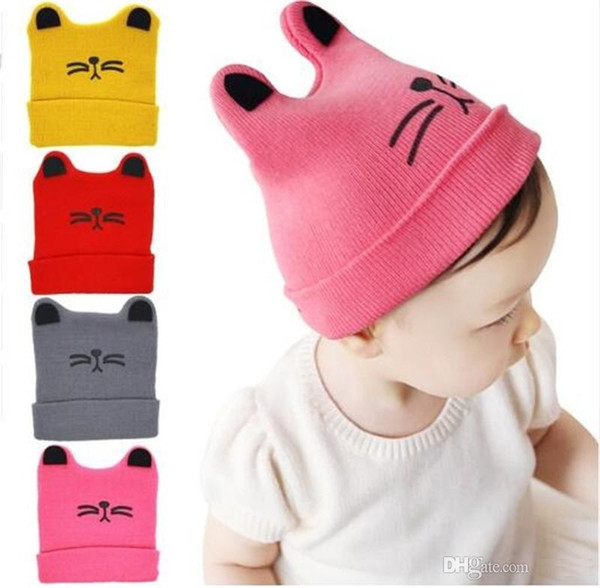Bnaturalwell cartoon cat ears toddler hat winter milk boy baby hat warm knit newborn hat baby girl Beanies Skullies TO282