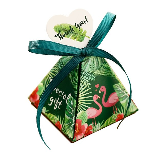 50Pcs Green Flamingo Triangular Pyramid Candy Boxes Wedding Favors Bridal Shower Party Gift Giveaways Box 2 Styles DDA713