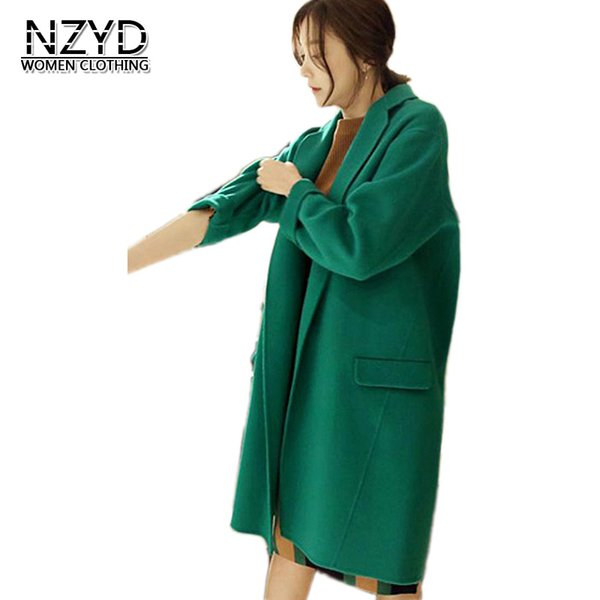 2018 Autumn Winter Women Blends New Style Fashion Mid-Long Green Woolen Jacket Casual Loose S-XL Female Blends Coat NZYD563