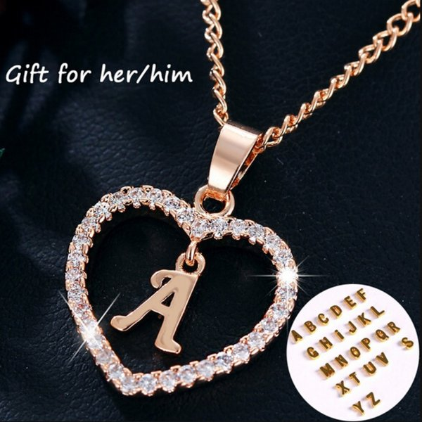 Fashion Diamonds Heart shape rose gold pendant A TO Z 26 Letters Love Heart Necklaces gift for him or her jewelry