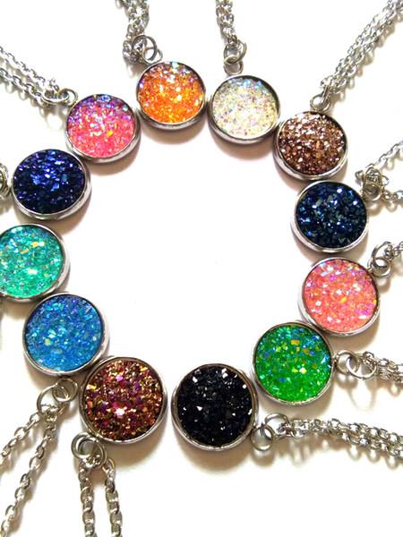 High quality druzy crystal Diamonds Pendant Statement Necklace Fashion Class Women Girls Lady druzy stone Elements Jewelry