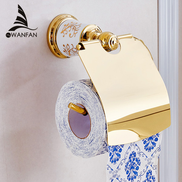 Paper Holders Golden Brass Toilet Paper Roll Holder with Cover Wall Mount Bathroom Fitting Bath Paper Tissue Storage Stand 87307
