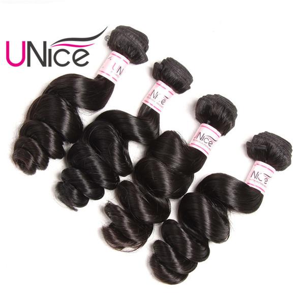 UNice Hair Malaysian Virgin Loose Wave Brazilian Remy 16-26 inch Peruvian Human Hair 3 Bundles Hair Extensions Indian Mix Length 4 Bundles