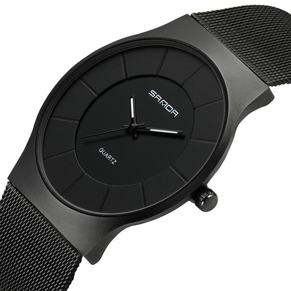 SANDA Super Slim Mens Watches Top  Rose Gold Mesh Men Watch Fashion Business Male Wristwatches Relogio Masculino 209