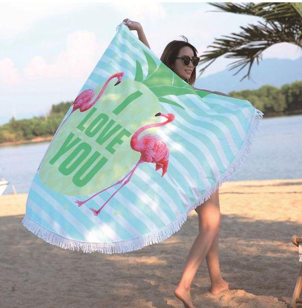 150 cm FLAMINGO Rodada Toalha De Praia Com Borlas Microfibra Praia Manta de Piquenique Yoga Mat 150 cm Cobertor de Piquenique Praia Cobrir-se