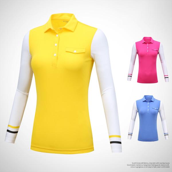 acf53ed7c09 Golf Apparel Women Shirt Long Sleeve Tops Sunscreen Basic Soft Fit Autumn  Bottoming Tshirt 2019