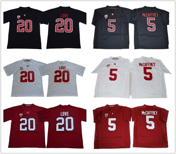 Men Youth #5 Christian McCaffre #20 Bryce Love Red Black White NCAA Stanford Cardinals Stitched College football jerseys