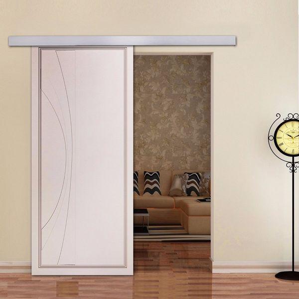 top popular Sliding Barn Door Hardware 6.6ft Aluminum Alloy Modern Sliding Barn Door Hardware for Interior Closet Doors 2021