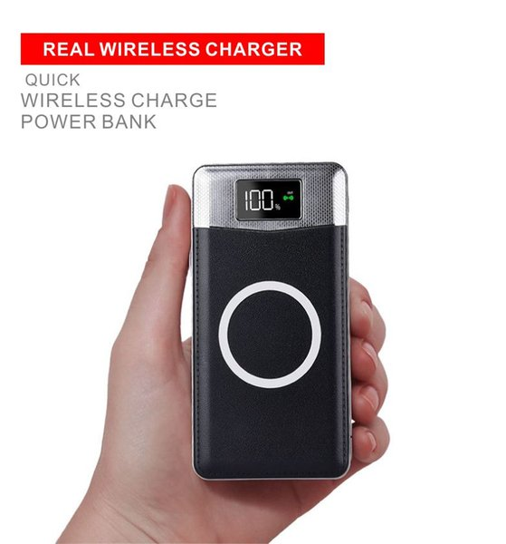 Qi Wireless Charger Power Bank 10000mAh Fast Cellphone Charger For Samsung iPhone Screen Display Remaining Power Dual USB with Retail Box