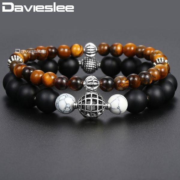 Davieslee Mens Natural Tiger Eye Stone Beaded Bracelet Brown Matte Black Glass Howlite Map Stainless Steel Bracelets DLBF17