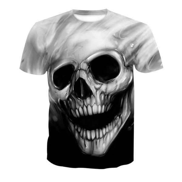 Wholesale Free Shipping Women Men 3d Digital Printing Skull Black Cotton Tee Tops Fashion Clothing Plus Size 6XL