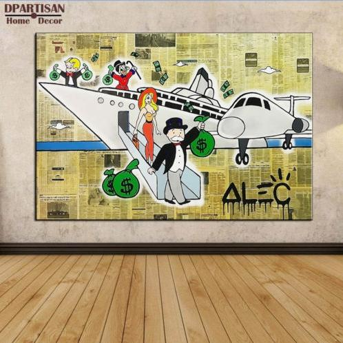 High Quality Handpainted Abstract Alec Monopoly Oil Painting on Canvas Graffiti Wall Decor After the trip Multi Sizes g108