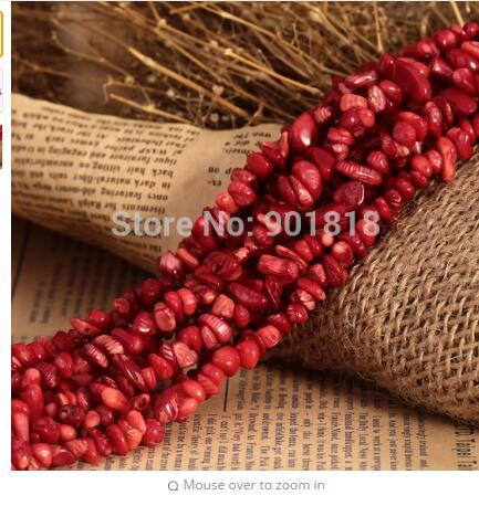 """best selling 5-8mm 1 Strand Approx.80cm 31.5"""" Natural Irregular Gravel Red Coral Stone Beads for women DIY Jewelry Necklace Chain F1835"""