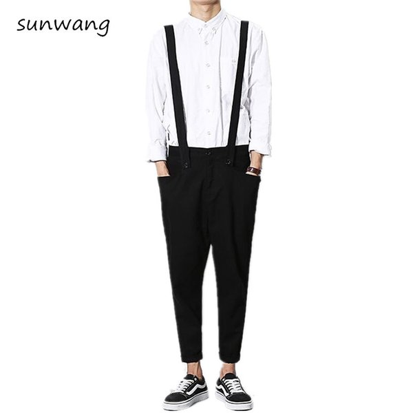 Mens Casual Fashion Black Khaki Cool Bib Ankle Pants Pantalon Homme Mens Trousers Harem Pants Men Jumpsuit Overalls