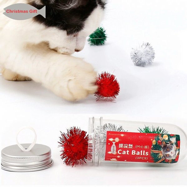 Christmas Colorful Cat Ball Kitten Cat Gift Toys 3pcs included Cat Toy Funny Flash Ball Christmas Pet Supplies