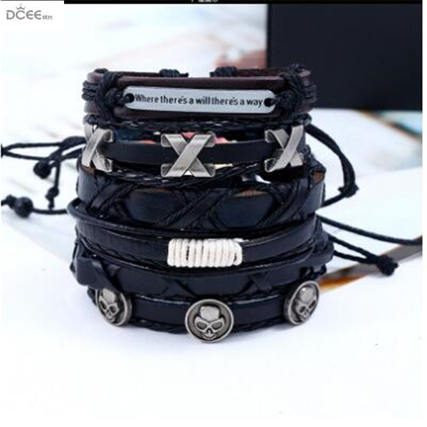 European and American men's Vintage knitted cowhide Bracelet DIY six piece multi-layer European and American Leather Bracelet