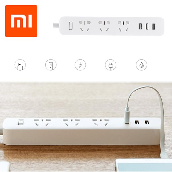 dapter with usb Original for Xiaomi Mi Smart Power Socket Portable Strip Plug Adapter with 3 USB Port Multifunctional Smart Home Electron...