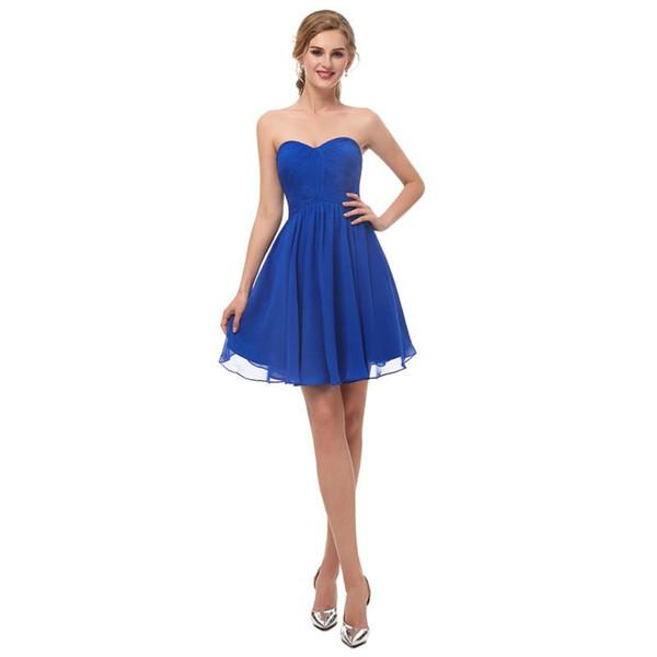 Cheap Under 50$ Royal Blue Sweetheart Neck Cocktail dress Homecoming Dresses Short Mini Zipper Back Maid Of Honor Gown Prom Dress In Stock