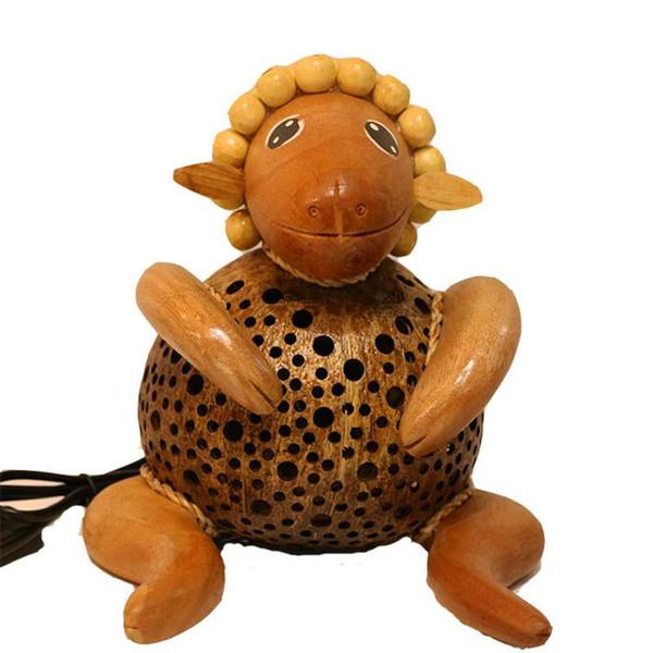 Ornements de décoration de table de lampe de moutons d'Asie du sud-est cadeaux créatifs lampes de bois d'origine de style de jardin