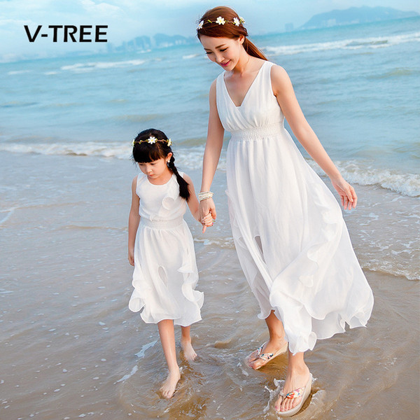 V-TREE Summer Mother Daughter Dresses Family Matching Outfits Sleeveless Long Dress For Family Mom Daughter Party Holiday Dress