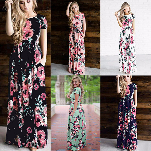 best selling Women Floral Print Short Sleeve Boho Dress Evening Gown Party Flower print Dress 2018 Summer 6 colors C3948