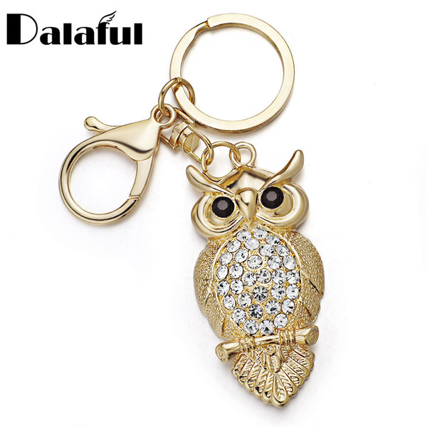 New Fashion Unique Owl Key Chains Rings Holder Delicate Purse Bag Buckle Pendant For Car Keyrings KeyChains K293