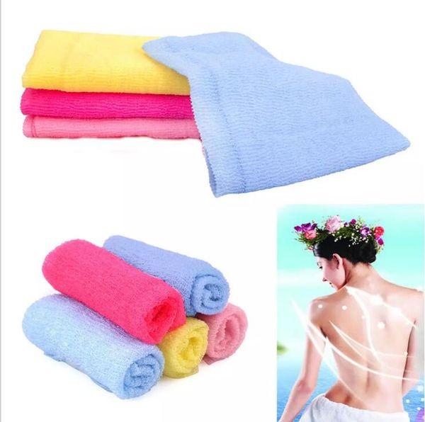 Nylon Sauna Shower Towel Body Cleaning Washing Scrubbing Bath Exfoliating Cloth 4 Colors 4pcs/lot Free Shipping