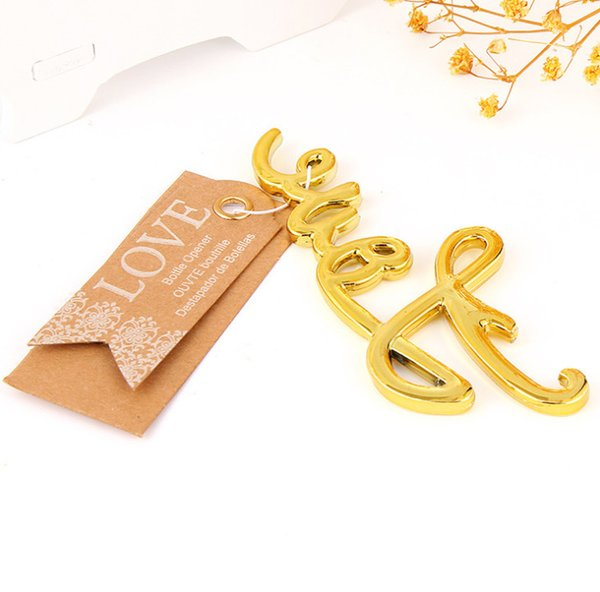 Gold And Silver Love Bottle Opener Wedding Favors And Gifts Event Party Supplies Souvenirs For Guests Bridal Shower Gift