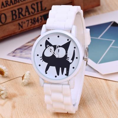 Детские силиконовые часы новый черный кот шаблон часы высокого качества простой Моды личности дешевые наручные часы ZC337 Оптовая