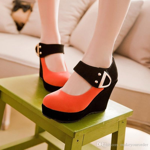 wholesaler free shipping factory price hot seller classic fashion wedge heel round nose fashion women lady patchwork Buckle shoe166