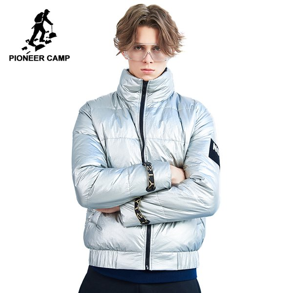Pioneer camp new winter down jackets men brand clothing fashion short stand collar down parkas for men warm Silver AYR801441