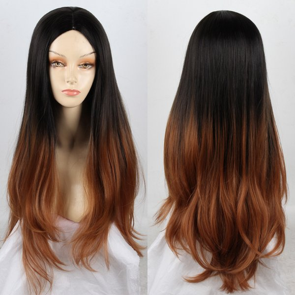 """26""""Fashion Black Mix brown wig cosplay long curly brown wig synthetic wigs heat resistant with highlights ombre wigs for women"""