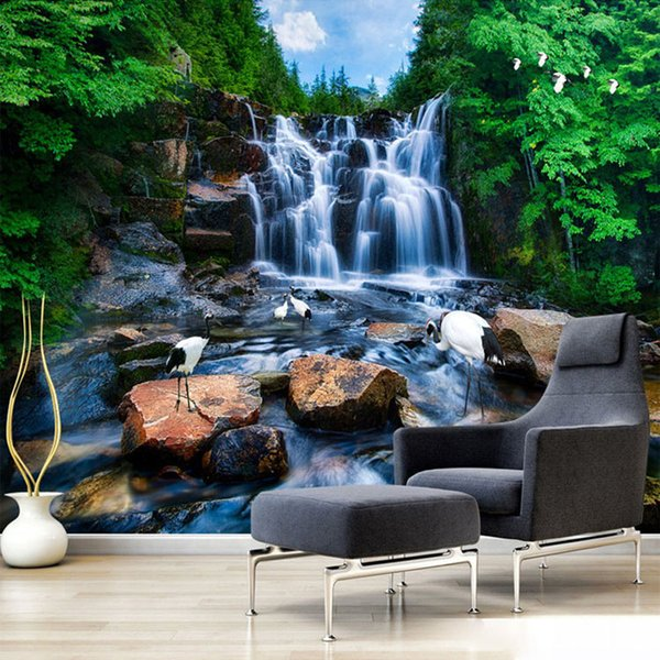 Arkadi Custom Chinese Wallpaper Murals Natural Landscape Waterfalls Stone Crane Wall Mural 3D HD Photography Living Room TV Wall Papers