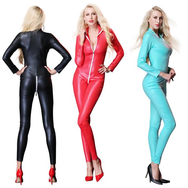 Sexy mono para mujer de vinilo CatsuitLatex de cuero de imitación Body Zipper entrepierna abierta PU Leotardo rojo negro azul