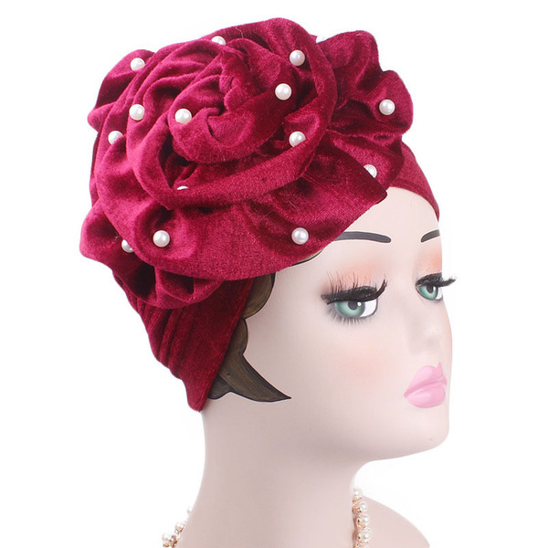 New Beaded King Beaded Flower Velvet Turban Muslim Hat Hijab Cap Turban Hair Band Women Wedding
