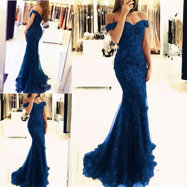 2018 Off The Shoulder Mermaid Long Evening Dresses Tulle Appliques Beaded Custom Made Formal Evening Gowns Prom Party Dresses