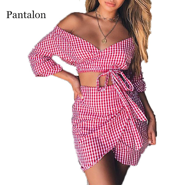 Pantalon Women's Suit Checker Board Plaid Suits Off-shoulder Two Piece Set Flare Sleeves Drawsring Top Short Mini Skirt Roupas