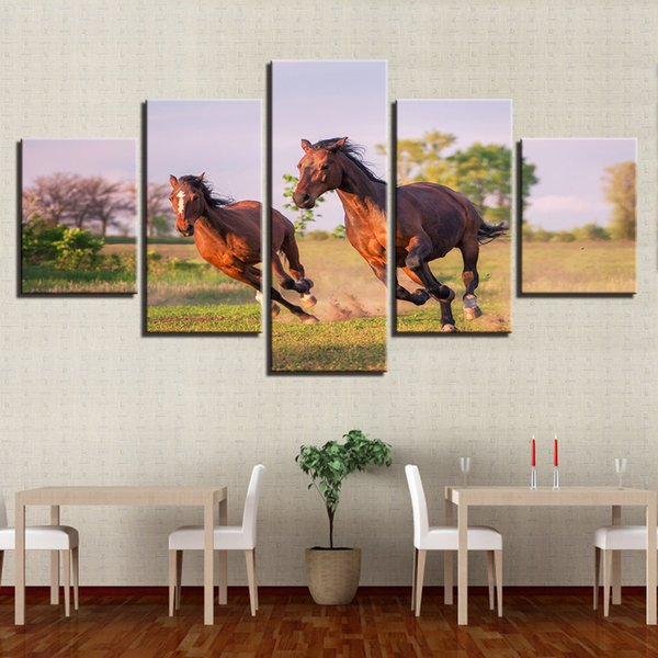 Canvas Pictures Living Room Decor 5 Pieces Animals Horse Couples Run Scenery Paintings Modern Modular Wall Art HD Printed Poster