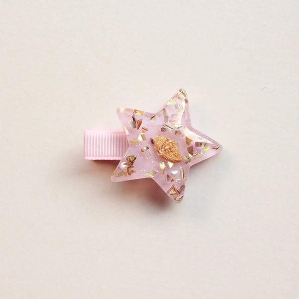 Pinza de pelo de estrella de mar de verano para niñas Accesorios para el cabello de niñas brillantes coreanas Pinzas de estrella de mar rosa Estrellas Princesa Horquilla linda