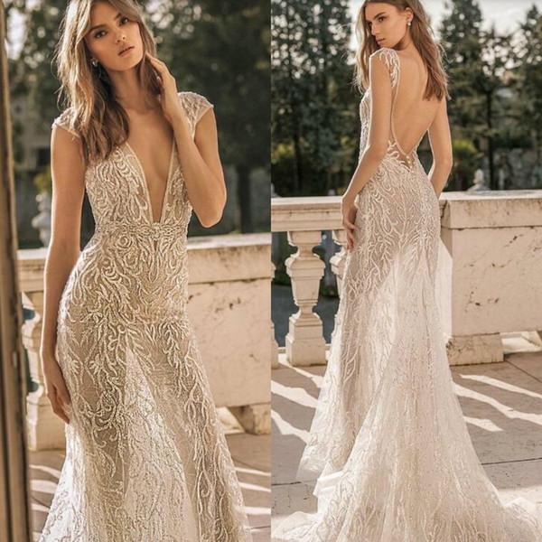 Berta 2019 Wedding Dresses Deep V Neck Luxury Appliques Beads Mermaid Wedding Dress Cap Sleeve Sequined Backless Bridal Gowns Ruffles Train