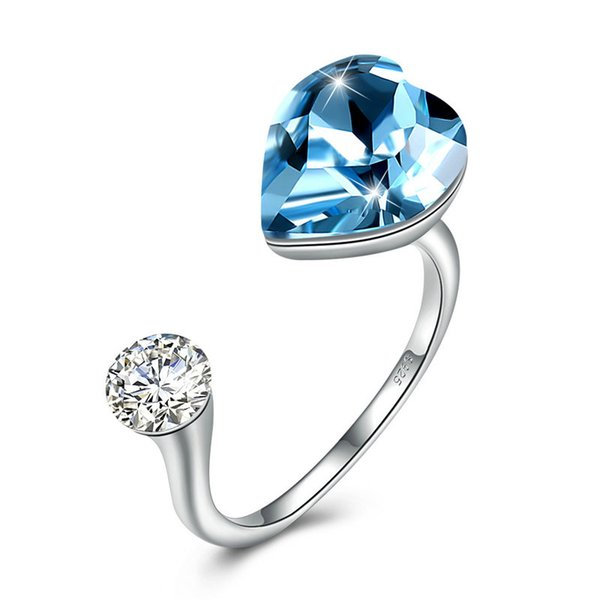 Heart Shape 925 Sterling Silver Rings For Women Pink Sky Blue Swarovski Elements Crystals Cuff Ring With Cubic Zirconia