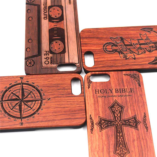 Fashion Style Wood Engraved Wood Phone Cases For Iphone 7 plus 8 6 6s X 10 5 5s 100% Wooden Bamboo Handmade Cellphone Cover Case For Samsung