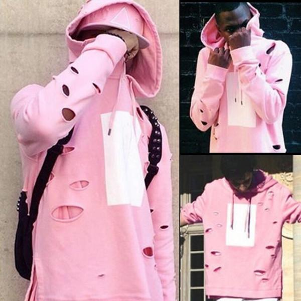 on sale adb30 ff59b Großhandel Neue Mode Mens Hip Hop Rosa Hoodies Mit Löchern Männlichen Mode  Streetwear Sweatshirt Side Split Hi Street Mit Kapuze Hoody Für Männer Von  ...