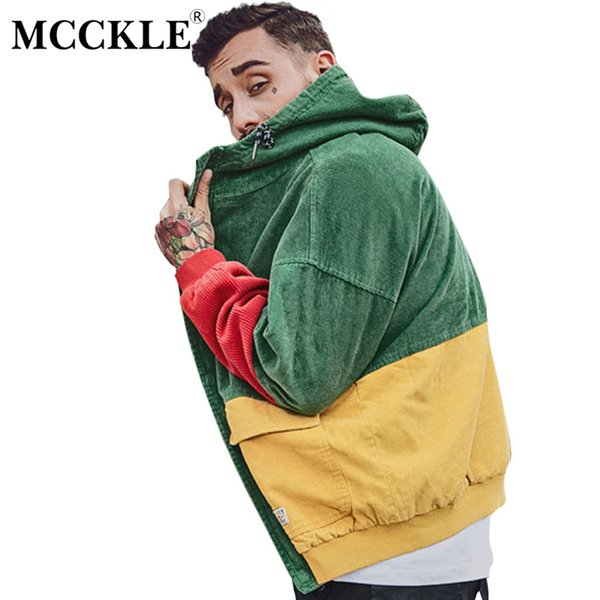 Mcckle Autumn Color Block Patchwork Corduroy Hooded Jackets Men Hip Hop Hoodies Coats Male 2017 Casual Streetwear Outerwear Mens Leather Bomber Jacket
