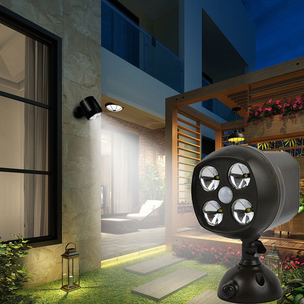 Cat Eye 4 LED Battery PIR Motion Sensor Spotlight Wall Lights Security Light