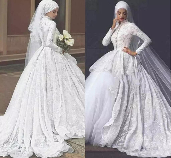 2019 Muslim Hijab Ball Gown Wedding Dresses Tiered Skirts High Neck Lace Appliques Long Sleeves Bridal Dresses 2018 Sexy Wedding Gowns