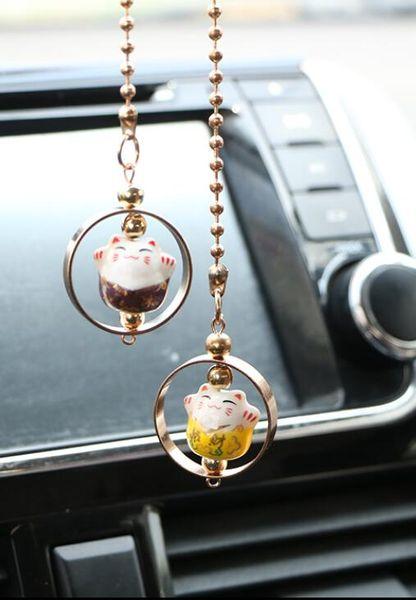 2018 high-end cute car ornaments tide female new lucky cat pendant ornaments car accessories