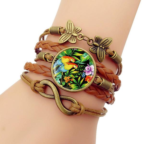 Parrot time gem New Bracelet Men Vintage butterfly unlimited Symbol Combination Bracelets Bracelets For Women Fashion Jewelry