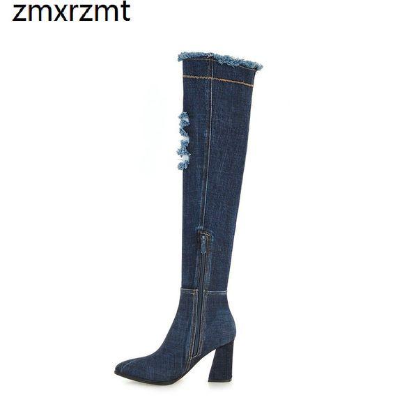 2019 kadın güzel diz üzerinde yüksek led çizmeler 8.5 cm yüksek topuk ayakkabı ilkbahar sonbahar parti ayakkabı büyük boy 34-43