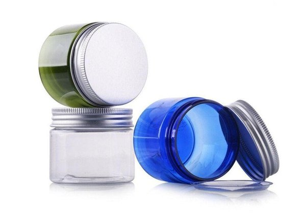 New Arrived 50g Transparent Small Plastic PET Jars With Aluminum Lid Blue Color Empty Cosmetic Sample Jar With Lid